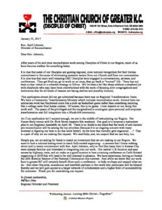 Cover Letter - Reconciliation Ministry